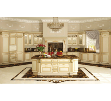 Кухня НИКА Доро, цвет - белый с золотой патиной, стиль - прованс